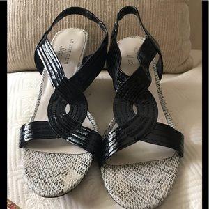 AK Anne Klein iflex black and snakeskin sandals.